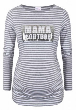 Umstandsshirt American Princess light grey striped