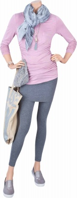 Stillshirt American Girl smoky pink, Umstandsleggings Stepping Out dark grey