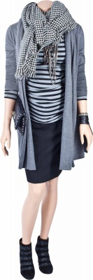 Umstandsstrickjacke Little Paris anthracite, Umstandsshirt Runaway Girl black striped, Umstandsrock Two Weeks Notice black