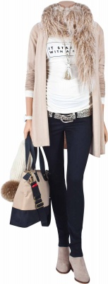 Umstandsstrickjacke Little Paris sand, Umstandsshirt She Started It off-white, Umstandsjeans Ninety Days black