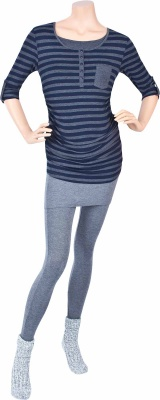 Stillshirt Morningstar dark blue striped, Umstandsleggings Stepping Out dark grey